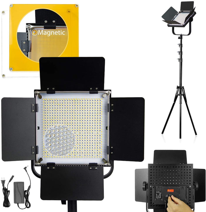 LIMOSTUDIO Advanced 576 LED Video Light Photography Lighting Kit, Dimmable Bi-Color LED Light Panel with LED Display Panel, and Light Stand for Portrait Product Photo Video, AGG3121