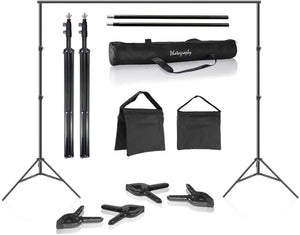 LimoStudio 10 ft. Adjustable Background Stand & Backdrop Support Structure System Kit, Photo Video Studio, AGG2348_V3_FBM