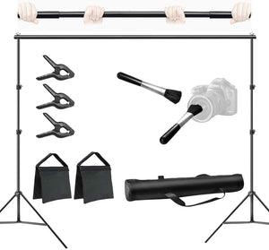 LIMOSTUDIO Photo & Video 10 ft. Wide Backdrop Stand Background Support System Equipment Kit with Spring Clamp, Lens Brush Dust Cleaner, Sand Bag, Carry Bag, Photography Studio, AGG3112