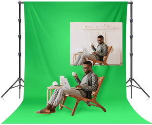 LIMOSTUDIO 6 x 9 ft. Soft Green Screen Chromakey Background Backdrop Photo & Video 10 ft. Width Backdrop Stand Background Support System Equipment, AGG3113