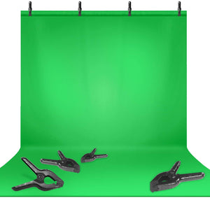 LIMOSTUDIO 9 x 15 ft. Green Backdrop, Seamless Green Screen Chromakey, Photography Background, 4 x Spring Clamps Background Holders for Photo Video Studio, AGG3147
