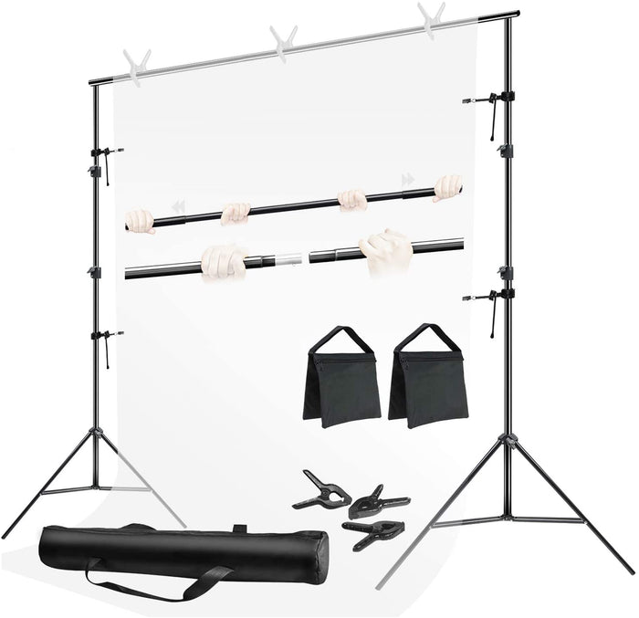 LIMOSTUDIO 10 ft. Wide Backdrop Stand Background Support System Equipment Kit with Spring Clamp, Clip Holder, Sand Bag, Carry Bag, Photography Photo Studio, AGG3111