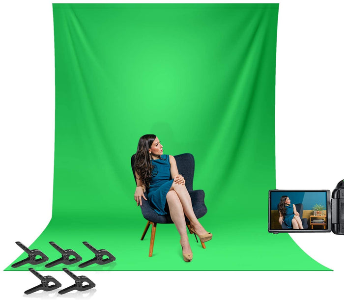 LIMOSTUDIO 10 x 12 ft. Green Backdrop, Seamless Green Screen Chromakey, Photography Background, 5 x Spring Clamps Background Holders for Photo Video Studio, AGG3143