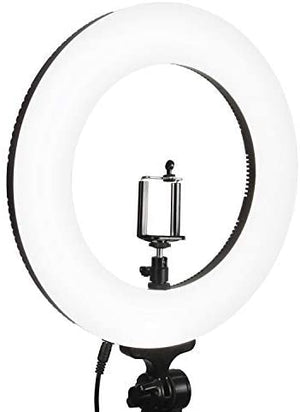 LimoStudio 14-inch Diameter LED Ring Light, Continuous Lighting Kit, 5500K, Good for Beauty Facial Shoot, Light Stand Tripod, Cell Phone Spring Clip Holder, Photo Studio, AGG2028_V7