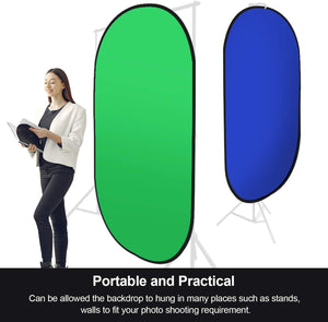 LIMOSTUDIO 5' x 7' Green & Blue Chromakey Popup Photography Collapsible Reversible Green & Blue Background Panel with Carrying Bag for Video Recording, Photo Video Studio, AGG3115