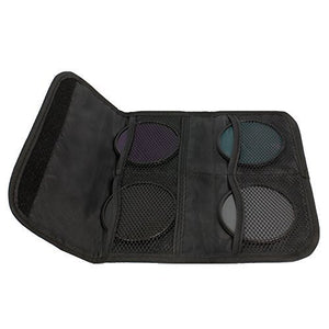 LS Photography (6pcs) x 4 Pocket Camera Lens Filter Case Carry Pouch for Round Circular or Square Filters and Black SuperFiber Lens Cleaning Cloth, LGG46
