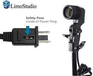 LimoStudio Photo Studio Single Head Light Adapter Mounting Socket with Umbrella Reflector Holder & Fuse