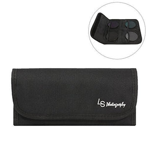 LS Photography 4 Pocket Camera Lens Filter Case Carry Pouch for Round Circular or Square Filters, LGG29