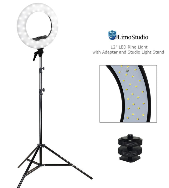 "12"" Diameter Dimmable Continuous Round LED Ring Light"