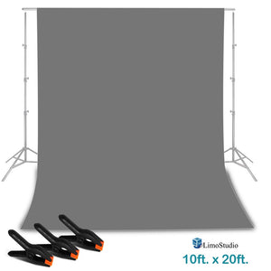 LimoStudio 10 ft. x 20 ft. Gray Professional Photography Studio Muslin Backdrop Background with 3 Heavy Duty Spring Clamps, AGG2331