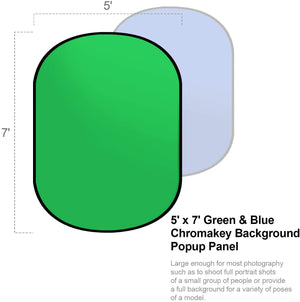 LIMOSTUDIO 5' x 7' Green Chromakey Blue Chromakey Collapsible Reversible Popup Photography Background Panel, 4 Spring Clamps, Carrying Bag, Video Recording, Photo Video Studio, AGG3116