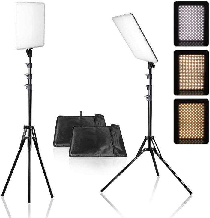 LimoStudio [2-Pack] 384LED Dimmable Dual-Color Temperature Photo Light Panel with Photo and Video Studio Light Stand Tripod, AGG976