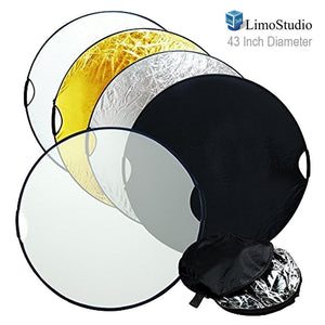 "LimoStudio 43"" Photo Video Studio Reflector, Hand Held 5-in-1 Collapsible Lighting Reflector Disc Board Panel, AGG736"