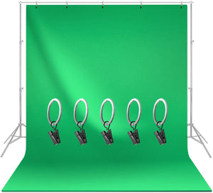 LIMOSTUDIO, AGG1338, Green Backdrop Muslin Chromakey, Soft and Seamless Fabric Background with 5 Metal Ring Clip Photography Video Studio, 6 x 9 ft.