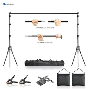 LimoStudio 10 x 7.5 ft Adjustable Photo Video Background Muslin Stand, Backdrop Support System Kit with Accessories, Spring Clamp, Sand Bag, AGG2612