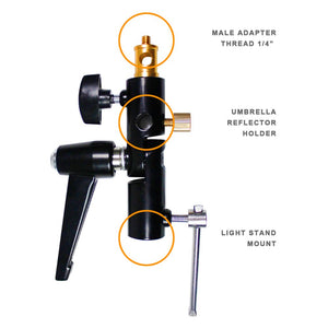 "LimoStudio Light Stand Mount Bracket with Umbrella Reflector Holder & 1/4"" Male Screw Adapter Thread & 1/4"" 3/8"" Female Screw Adapter Thread Brass Photography Studio, AGG1812"
