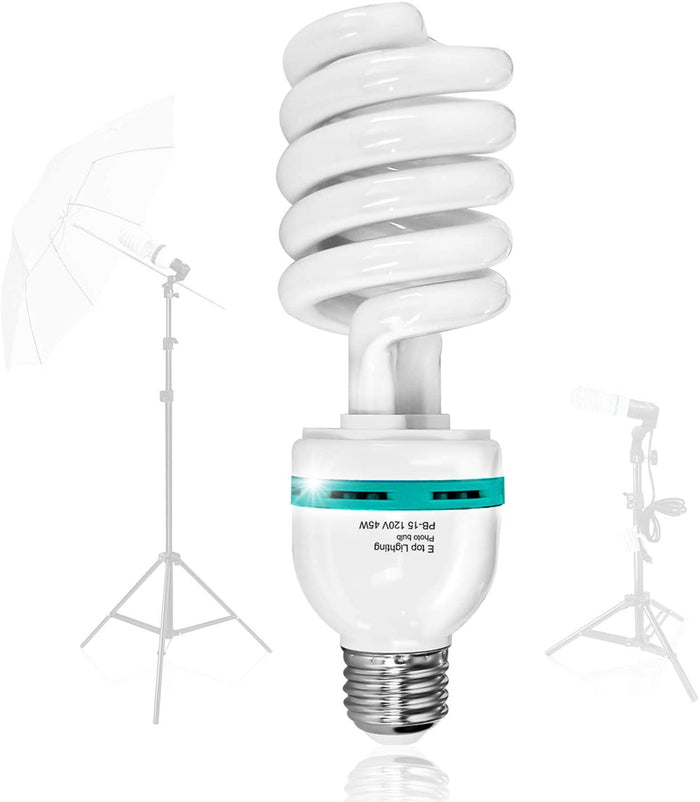 LimoStudio 45 Watt, 6500K Fluorescent Daylight Balanced Light Bulb for Photography and Video Lighting, AGG876