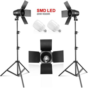 "LimoStudio [2PACK] Photography Photo Studio Continuous LED Day Light Bulb Barndoor 82.3"" Tall Light Stand Kit, AGG1698_V2"