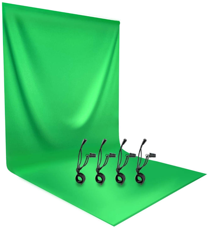 LimoStudio 6 ft. x 9 ft. Green Chromakey Muslin Screen Photography Backdrop Background for Photo Video Studio with 4pcs Backdrop Clip, AGG890
