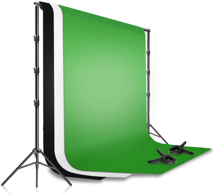 LS LIMO STUDIO LIMOSTUDIO 10 ft. Backdrop Stand with 10 ft. White Black Green Screen Chroma Key Background Support Stand Kit, Spring Clamps, Photo Studio, AGG1731