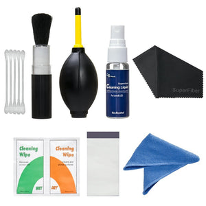 "LS Photography 7 in 1 Care & Cleaning Kit Camera Cleaning Kit with 16"" x 16"" Black SuperFiber Lens Cleaning Cloth, LGG93"