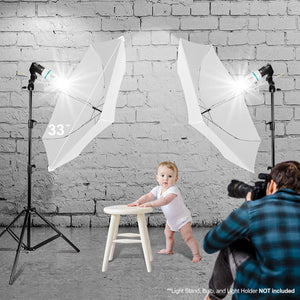 "LIMOSTUDIO 3 Pack 33"" 3-Fold Ultra Compact Professional Photography Photo Video Studio Lighting Flash Translucent White Soft Umbrella for Photo Portrait Shooting Daylight, AGG3106"