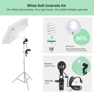 "LIMOSTUDIO 33"" 3-Fold Ultra-Compact Professional Photography Studio Lighting Flash Translucent White Soft Umbrella Kit, Light Holder, 6500K Lighting Bulb, Portrait Shooting, AGG3107"