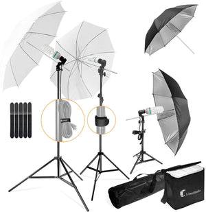 LS LIMO STUDIO LIMOSTUDIO, 700W Output Soft Continuous Lighting Kit, Day Light Color with White and Black Umbrella Reflector, Photo Studio, LMS103