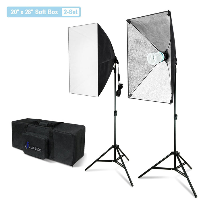 Julius Studio 20 x 28 Inch Soft Box with Bulb Socket Lighting Kit, 800W Output Softbox Light for Video Camera Photography, Photo Portrait Studio, Photo Lighting Diffuser, JSAG344V2