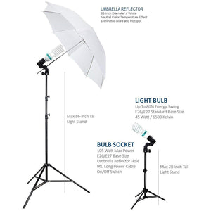 Julius Studio Photography Photo Studio Video Portrait Lighting Kit, White Umbrella Reflector, Continuous Bulb & Socket with Umbrella Insert, Light Stand Tripod, Carry Bag, JSAG1