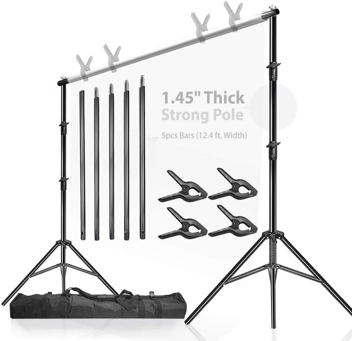 LimoStudio Heavy Duty Backdrop Stand (12.4 ft Width,10 ft Height), 1.45-inch Thick Tripod Pole, Background Support Structure System, AGG1782