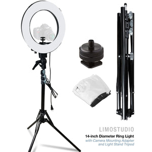 LimoStudio 14-inch Diameter Ring Light Continuous Round Ring Lighting Kit, 5500K Photography Photo Studio Light Stand, AGG1773V6