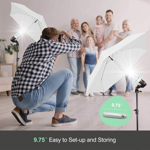 LimoStudio AGG714 Umbrella Green Backdrop Stand Background Support Stand Lighting Kit, Portable Umbrella, 6 x 9 ft. Soft Green Screen for Photography Photo Video Studio