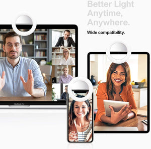 LimoStudio, AGG1049, Selfie Ring Light, Portable Mini Lighting, Brightness Control, Clip, Rechargeable Cable for Laptop, Computer, Cell Phone