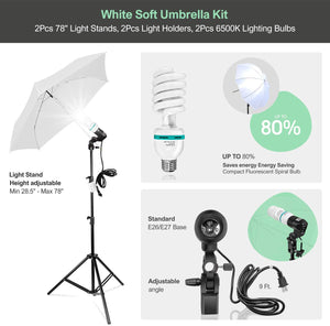 LimoStudio, AGG139, Photography Backdrop Continuous Umbrella Studio Lighting Kit, Muslin White and Black Screen and Background Stand Support System