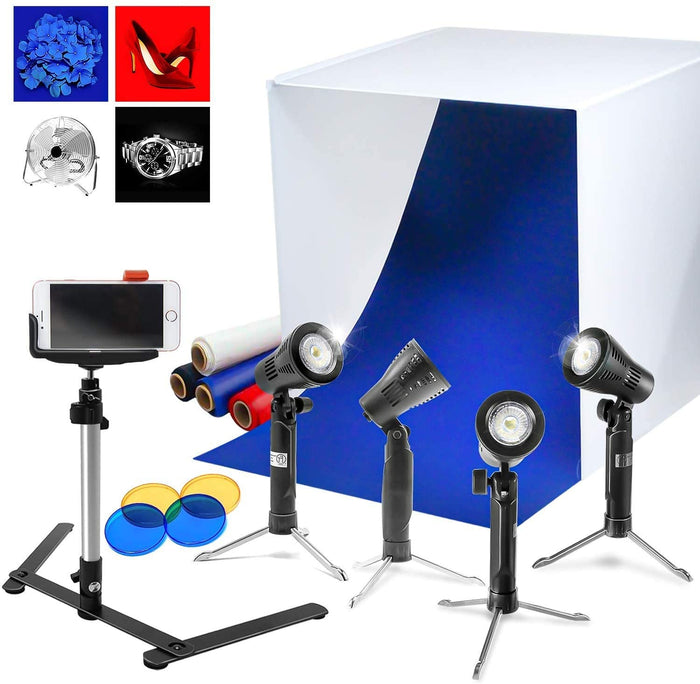 "LimoStudio 24"" x 24"" Cubic White Photo Box Tent,4 LED Table Top Lights with Stand Legs, Mini Camera Stand, Cellphone Clip, 4 Backgrounds, 2 Color gel filters, Photo Video Studio, AGG1071"