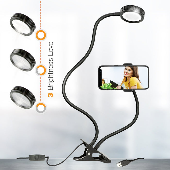 Julius Studio Selfie Ring Light with Gooseneck Extension Bar & Spring Clamp Mounting Adapter & Spring Cell Phone Clip Holder,Dimmable LED Light, JSAG389