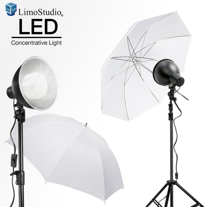 "LimoStudio [2 Set] 2700 Lumen LED Light Bulb with 7.5"" Diameter Metal Dish Lamp for Concentrative Spotlight, Table Top Mini Tripod, White Umbrella Reflector, Photography Video Studio, AGG2605"