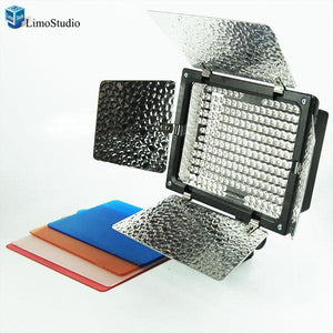 Photo Studio 200 LED Barndoor Photography Video Camera Lighting Kit, 4Color Filters with Battery Kit, AGG1044