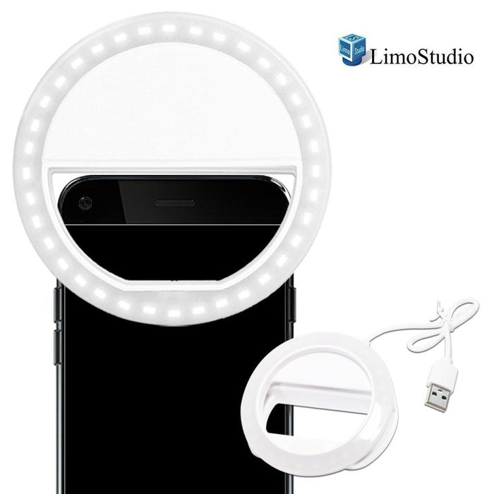 LED Portable Mini Selfie Ring Light for Smartphone, Camera Light for iPhone, iPad, Samsung Galaxy, Brightness Level Control, Rechargeable USB Cable, Cleaning Cloth, Photo Studio, AGG1049V2