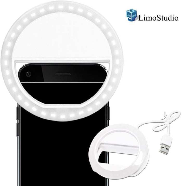 LimoStudio LED Portable Mini Selfie Ring Light for Smartphone, Camera Light for iPhone, iPad, Samsung Galaxy, Brightness Level Control, Rechargeable USB Cable, Cleaning Cloth, Photo Studio, SRE1039