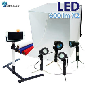"LimoStudio 24 x 24"" Cubic White Photo Box Tent, LED Table Top Light with Stand Legs, Mini Camera Stand, Cellphone Clip, Photo Video Studio, AGG1071"