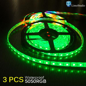 Set of 3, Epoxy 16.4 ft, 5m(200inch) Ultra bright SMD 5050 LED RGB Color Changing Waterproof Flexible 300 LED Strip Light with 3M Tape, AGG1085