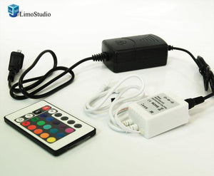 24 key IR Remote controller for 3528 5050 RGB SMD LED Strip 12V 144W 1 X RGB Controller with Adoptor, AGG1102