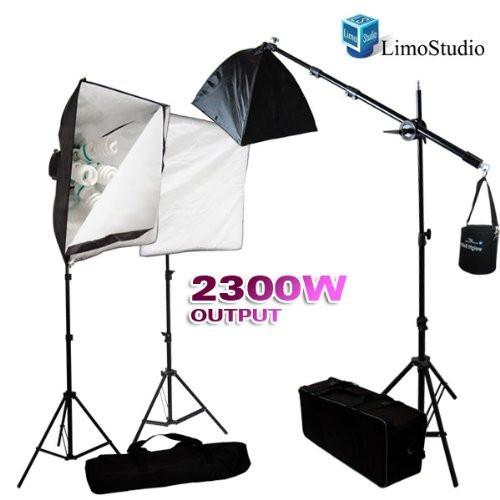 Photography 2300W Digital Video Photo Studio Softbox Light Kit with Overhead Hair Light Boom Kit and Carrying Case, AGG110