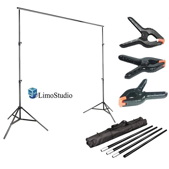 LimoStudio 10 ft. Wide Background Support System, 9.4 ft. Tall Backdrop Stands with Spring Clamps and Carry Bag Case, Photo Video Studio, SRE1012