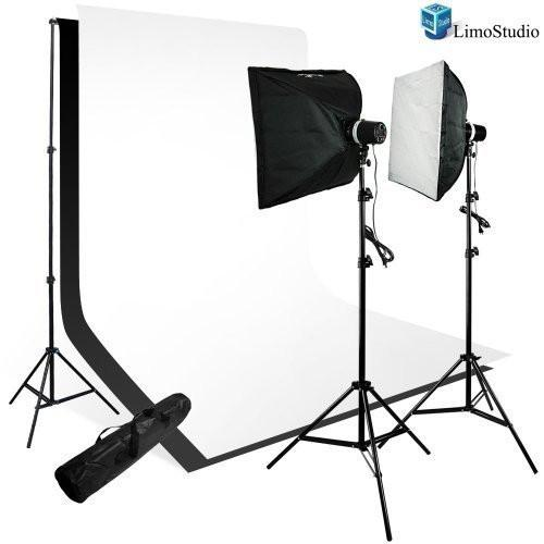 Photography 200W Softbox Studio Light Monolight Flash Photo Video Studio Lighting Kit, White & Black Backdrops with Support System, AGG111V2