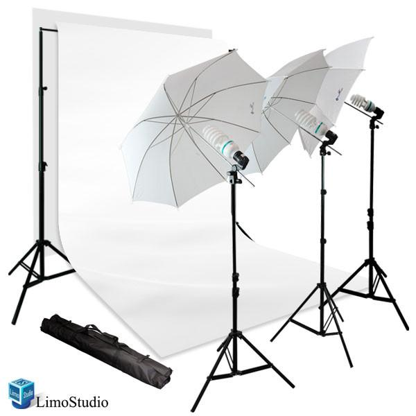 900W Photography Portrait Photo Video Studio Light Kit, Triple Photography Umbrella Lighting with 6x9 ft White Backdrop Background Support Kit, AGG1128