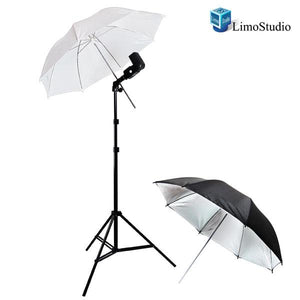 Photo Studio Camera Flash Shoe Mount Swivel Umbrella Kit for Nikon Canon with Camera Flash Speedlite, White & Black/Silver Umbrella Reflectors, AGG1139