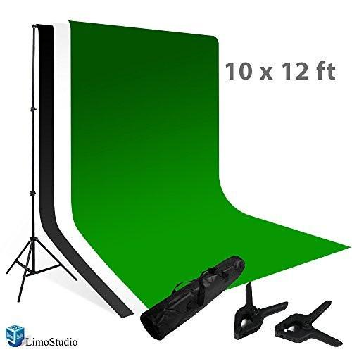 Photo Backdrops Background 10' X 12' White, Black, Green Chromakey Photography Muslin Support System Stand and Bag, AGG115V3